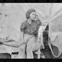 Child of migrant worker sitting on bed in tent home of cotton picking sacks, Harlingen, Texas.jpg