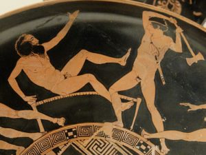 Detail of Kodros Painter's red figure kylix depicting the Deeds of Theseus