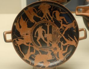 Attic red-figure kylix with the deeds of Theseus
