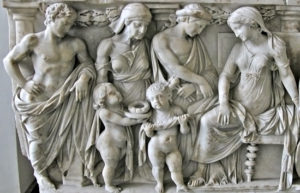 Roman sarcophagus showing Medea's children bringing gifts to Glauce