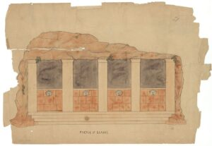 drawing of the restored facade of Glauce