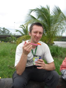 Here, Andrew is showing off his field lunch, a can of cooked carrots and peas. Delicious!