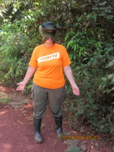 Anne demonstrating the proper field gear while protecting herself from the harsh Guianese sun.