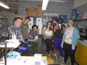 Isaac, Matt, Bryan, Julia, AJ, and Anne in the lab.