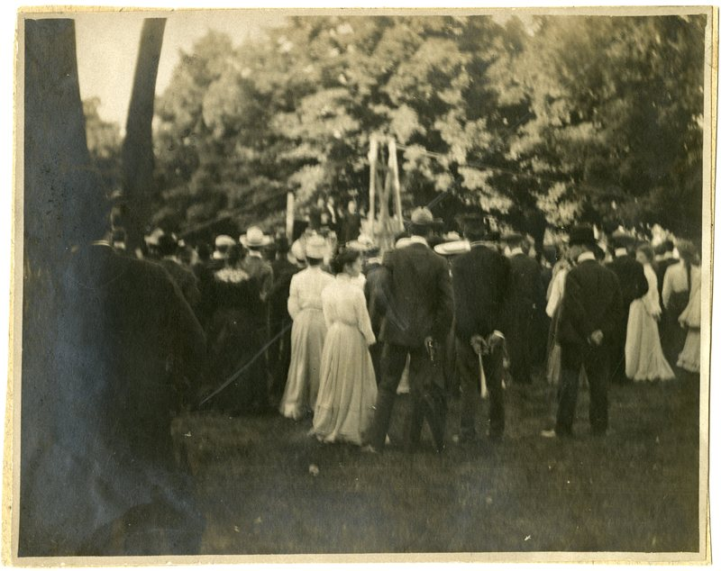 Laying cornerstone of Carnegie Library 1904, from C Book Alta Anderson '14